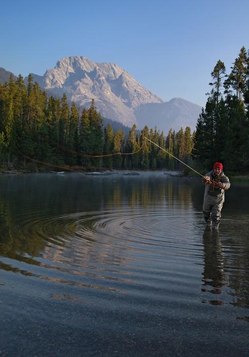 Christian Santelices,Grand Teton National Park,fly fishing,flyfishing,fishing,casting,orange,line,sunrise,illuminated,da, photo