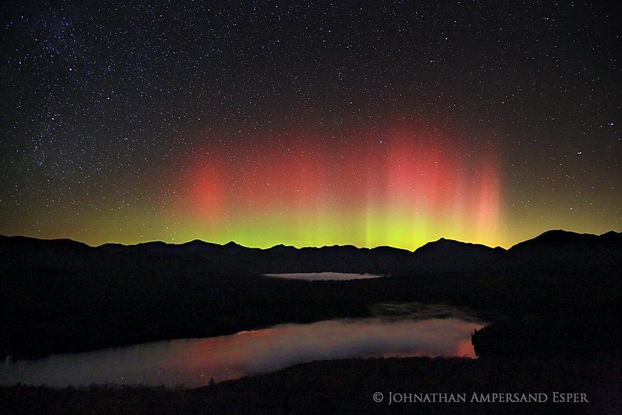 red Aurora Borealis,aurora borealis,northern lights,Clear Pond Mt,Elk Lake,Adirondack High Peaks,Adirondack Mountains,Elk Lake Preserve, photo