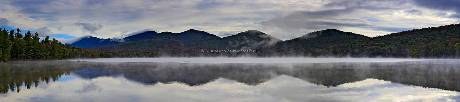 canoeist,canoeing,Clear Pond,Elk Lake Preserve,reflection,panorama,Adirondack Mountains,Adirondack Park,Johnathan Esper, photo