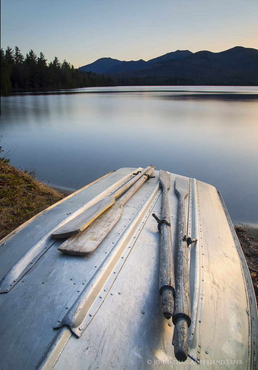 Clear Pond rowboat,rowboat,oars,Clear Pond,Elk Lake Preserve,Dix Range,Johnathan Esper,lake,Adirondack Park,Adirondack, photo