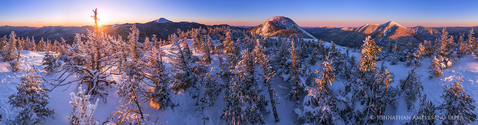 Colden,Mt Colden,High Peaks,Adirondack Mountains,Adirondacks,Adirondack High Peaks,summit,Colden summit,winter,sunrise,360 degree panorama,alpenglow,Johnathan Esper, 2017,Algonquin,, photo