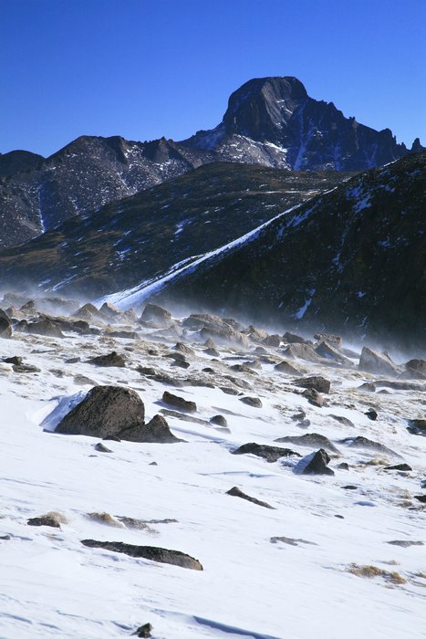 Rocky Mountain National Park, Longs Peak, Continental Divide, blowing snow, photo