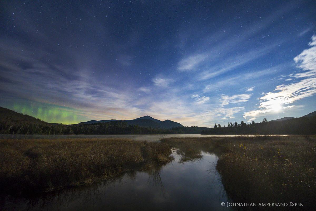 Connery Pond,Whiteface Mt,Whiteface Mountain,aurora borealis,moonlight,moon,Connery Pond aurora borealis,November,2017,Adirondack...