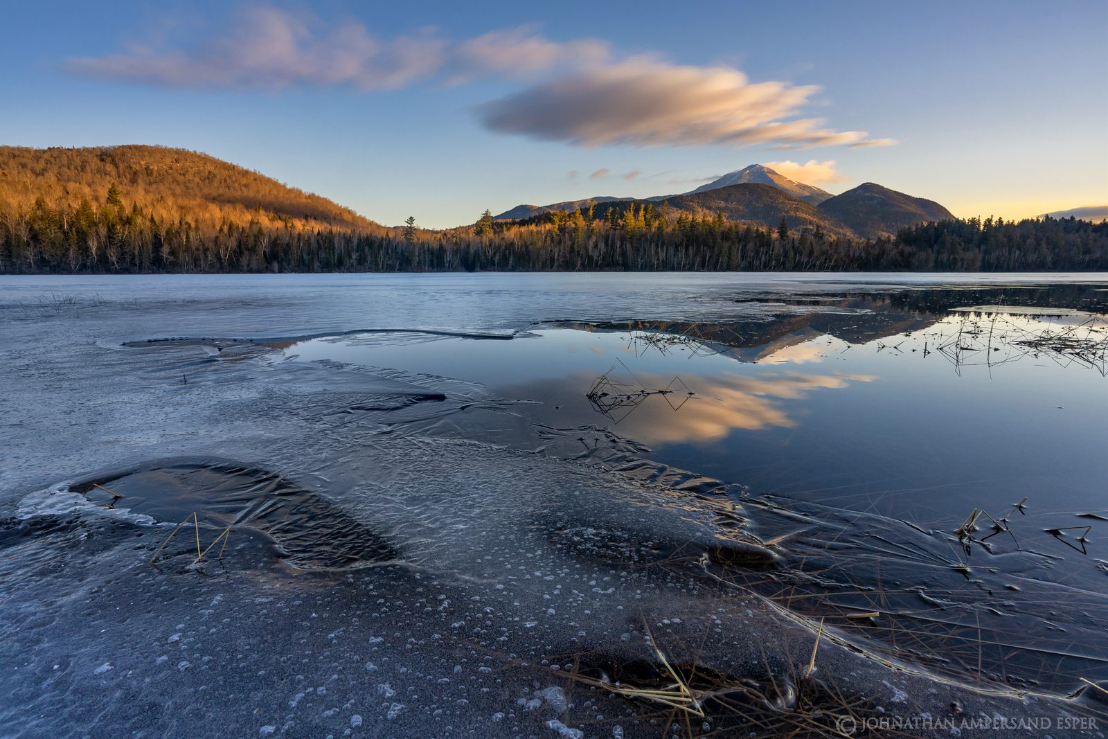 Connery Pond,Whiteface Mt,Whiteface,Whiteface Mountain,winter,2020,spring,outlet,lake,pond,Adirondack,sunrise,clouds,, photo