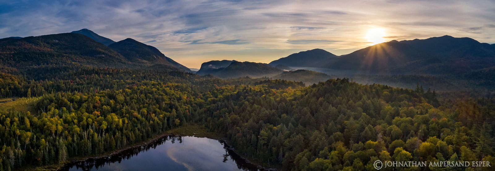 Connery Pond,Whiteface Mt,Whiteface,drone,aerial,2019,autumn,morning,fog,sunrise,Adirondacks,Adirondack Park,landscape,photography...