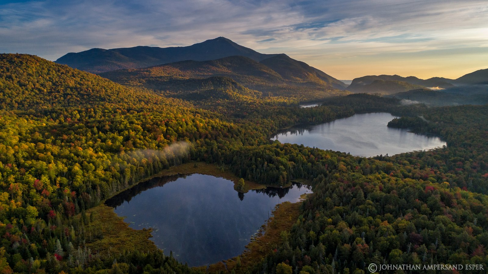 Connery Pond,Whiteface Mt,Whiteface,drone,aerial,2019,autumn,morning,fog,sunrise,Adirondacks,Adirondack Park,landscape,photography,Johnathan Esper,ponds,lakes,Wilmington Notch, photo