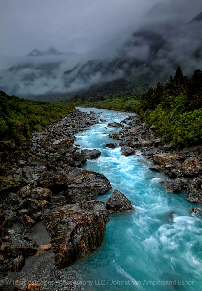 Copeland Track,New Zealand,Copeland valley,river,rainclouds, photo