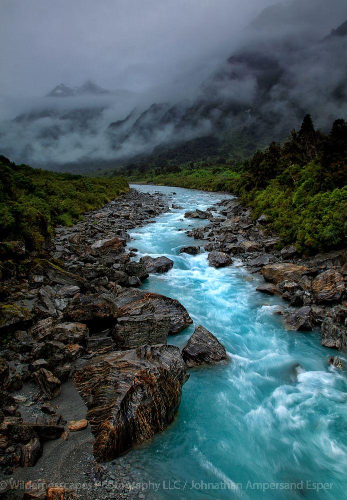 Copeland Track,New Zealand,Copeland valley,river,rainclouds, photo