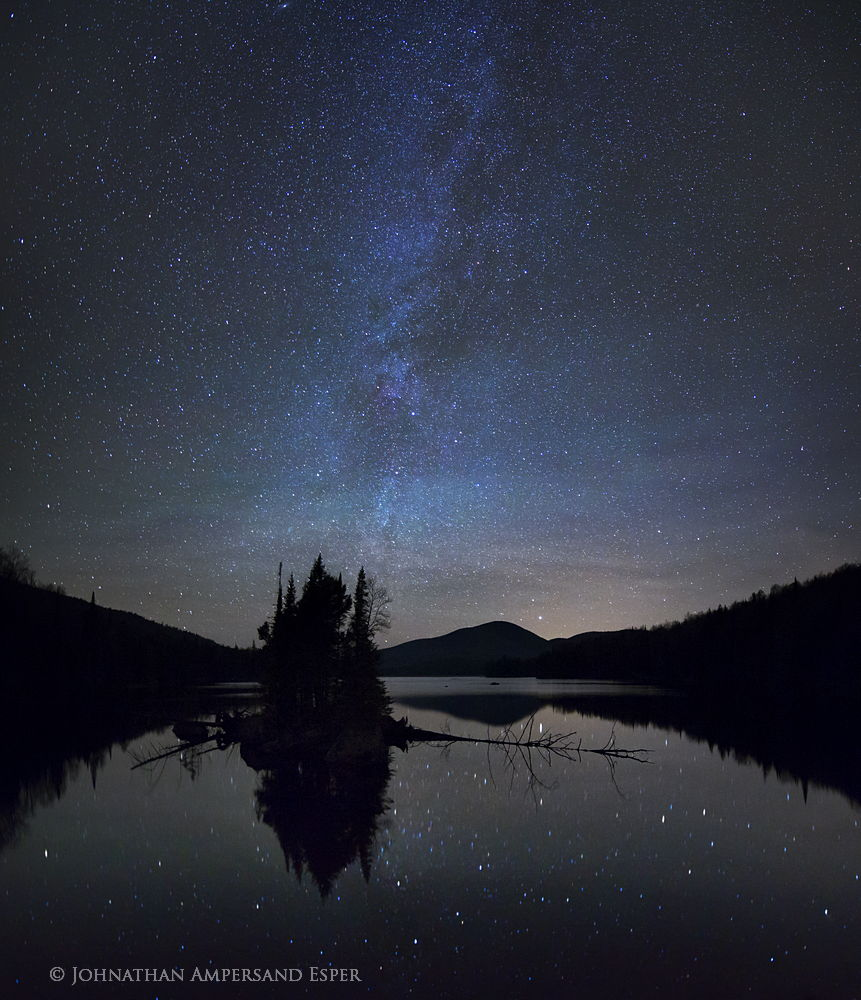 County Line Flow,Kempshall Mt,Milky Way,stars,night,reflection,pond,Adirondack,photography,Adirondack Park,island,sillouette,Johnathan Esper,, photo