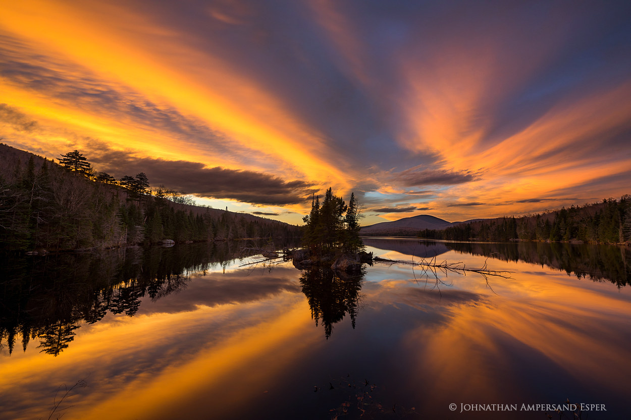 County Line Flow,Kempshall Mt,sunset,reflection,late fall,November,Kempshall,island,, photo