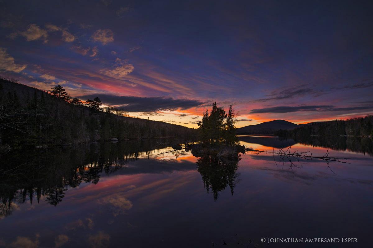 County Line Flow,twilight,November,2017,County Line Flow twilight,evening,island,pond,Adirondack Park,, photo