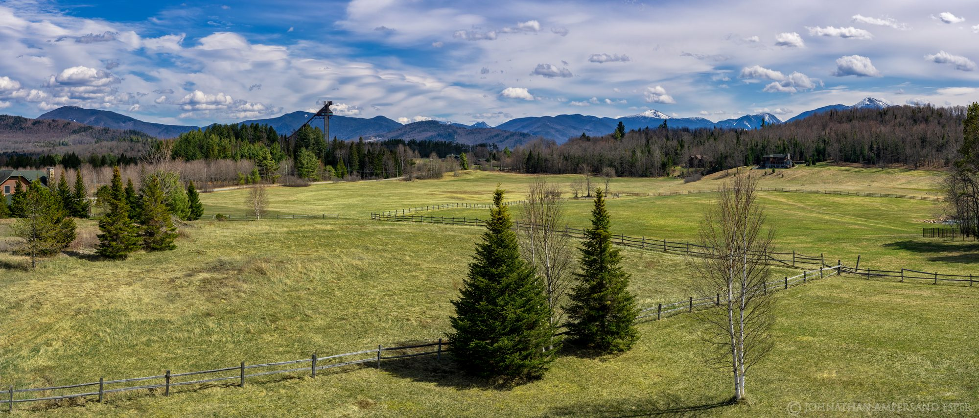 Dads house,Dad's house,fields,spring,2020,ski jumps,homes,Lake Placid,village,idyllic view,home view,sunny,Bear Cub Rd, photo