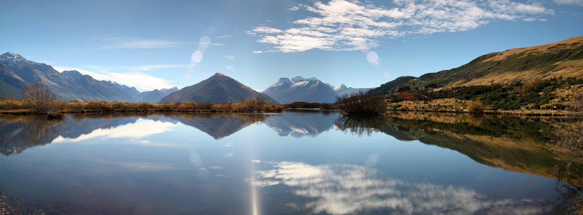 Mt. Earnslaw, New Zealand, Dart River, flows, Glenorchy, reflection, photo
