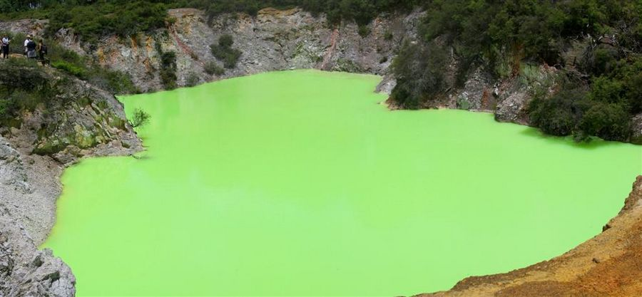 Devils Bath, Wai-O-Tapu Thermal Area, New Zealand, colored, crater, lake, photo