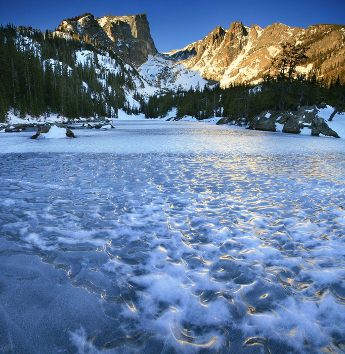 Frozen, Dream Lake, Hallet Peak, Bear Lake area, Rocky Mountain National Park, Colorado, photo