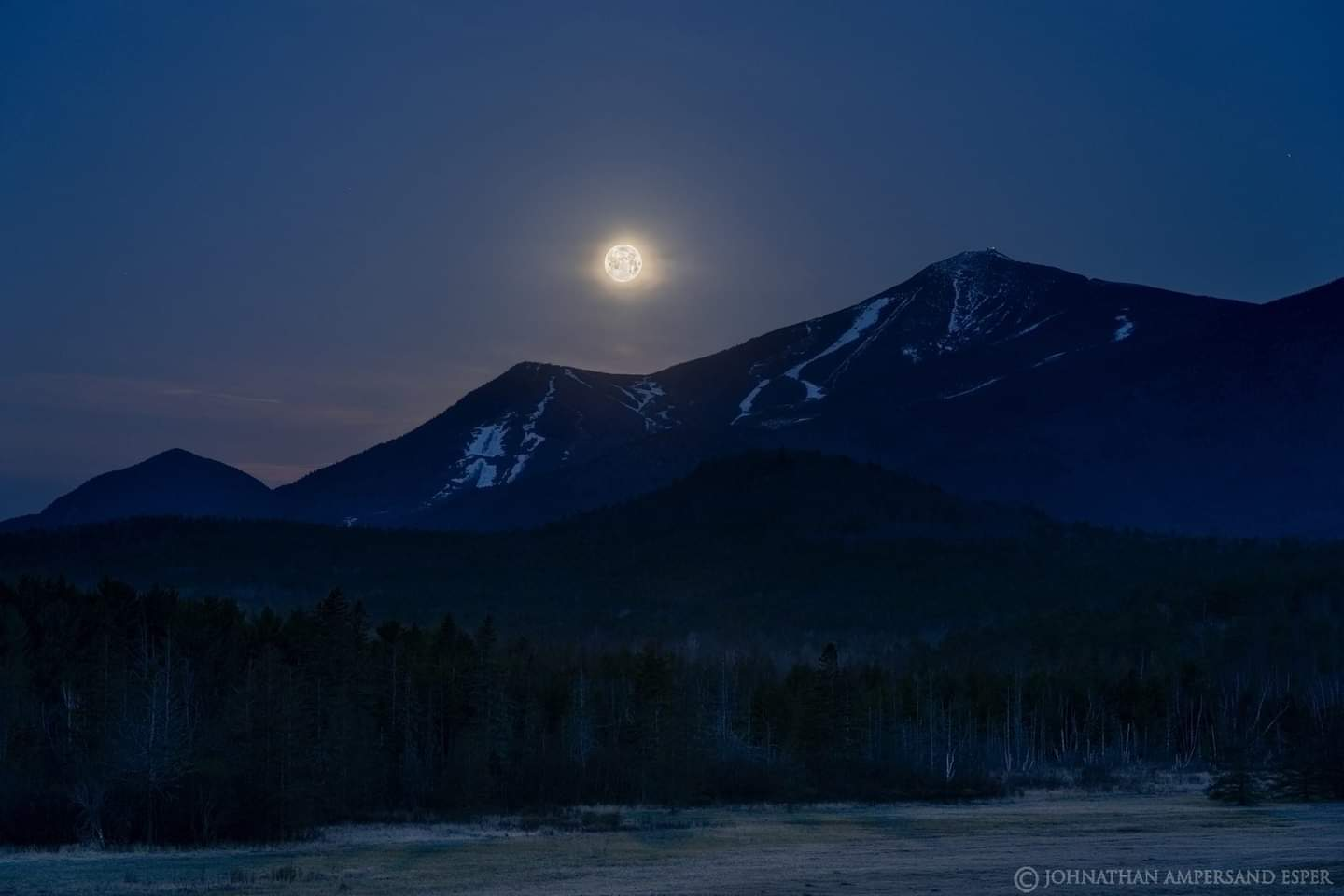 Moon, full moon, Whiteface Mountain, Wilmington, night,spring,2020, Whiteface Mt,