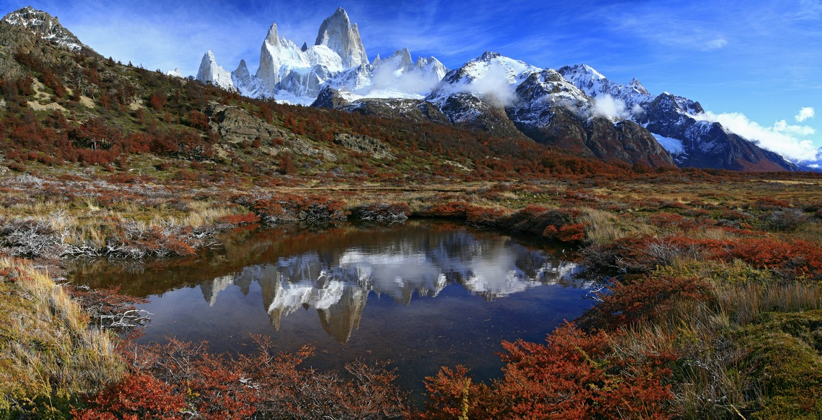 Fitz Roy, tarn, reflection, autumn, perfect, Los Glaciares National Park, Monte Fitz Roy, photo