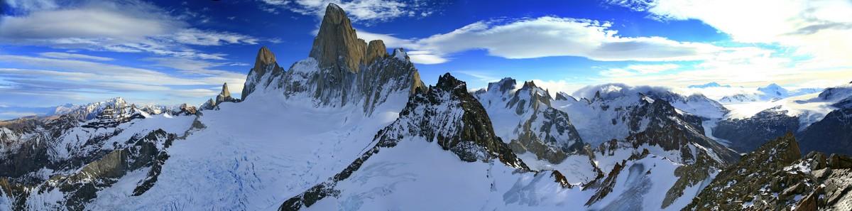 Cerro Electrico, Monte Fitz Roy, Fitz Roy massif, Campo de Hielo Sur, panorama, Fitz Roy, Los Glaciares National Park, photo
