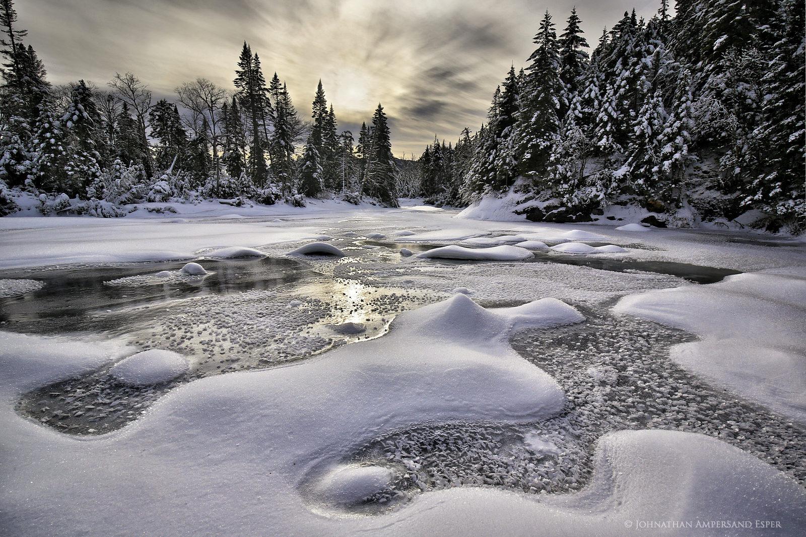 Flowed Lands,Opalescent River,snow,curves,patterns,ice,snowy,winter,High Peaks,High Peaks region,Adirondack High Peaks,, photo