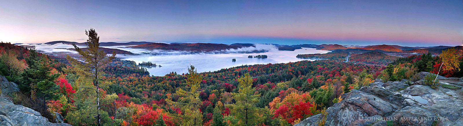 Fourth Lake,Inlet,Inlet NY,autumn,Rocky Mt,Fourth Lake Rocky Mt,sunrise,fog,Adirondack Park,lakes,Adirondack,panorama,pu, photo