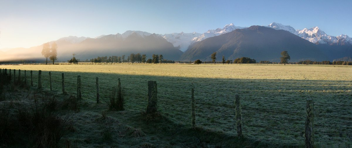 Fox Glacier, area, West Coast, pasture, fields, fence, photo
