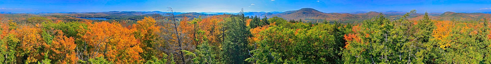 Friends Lake region 360° hemlock Treetop pano, with Gore Mt seen beyond the Hudson River valley, fall 2011. A crop of...