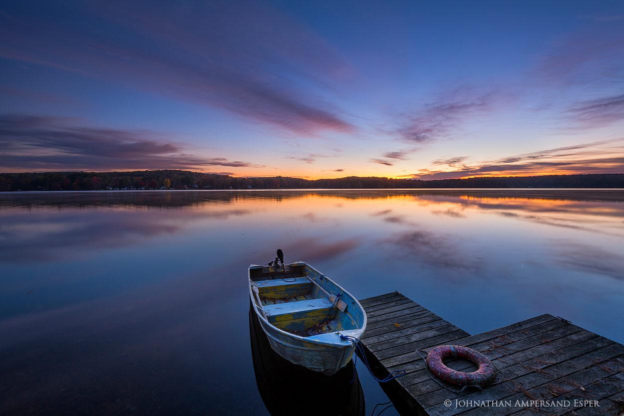 Galway Lake,Lake Galway,Galway,southern Adirondacks,Broadalbin,fall,2017,lake,life-ring,old,rowboat,old rowboat,old boat,flaking,sunrise,dock,ring, photo