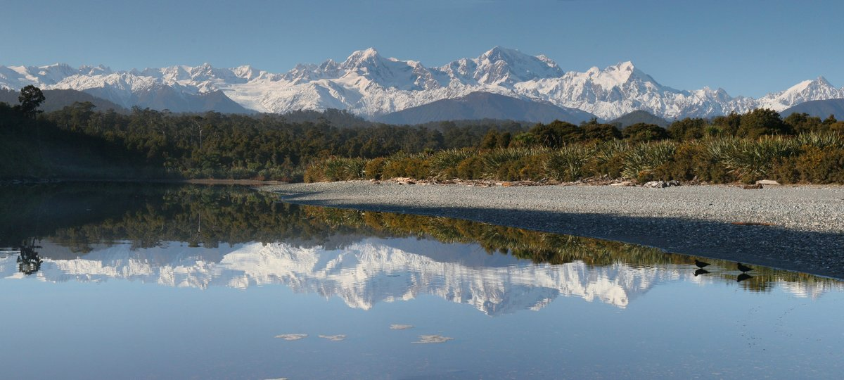 Gillispies Lagoon,West Coast,New Zealand,Mt. Cook,Mt. Tasman,reflection,coast,oyster catcher,seabird,, photo