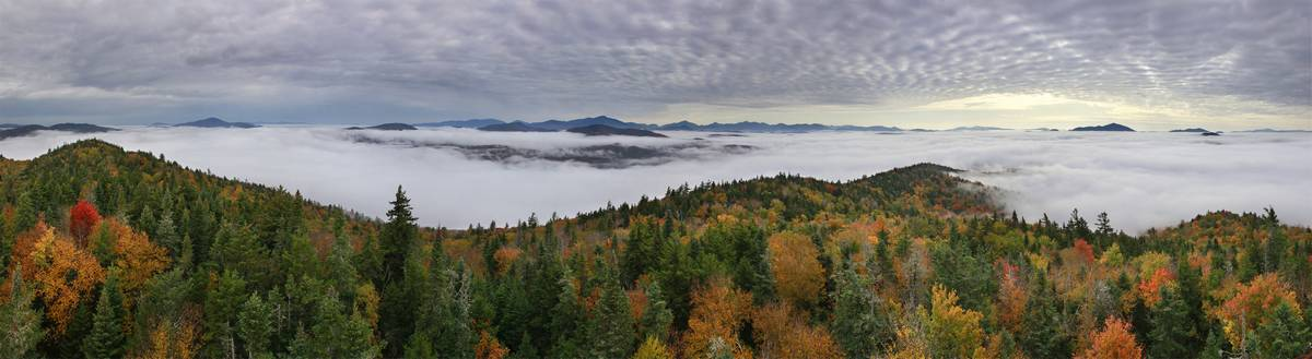 Newcomb,town,Goodnow Mountain,Goodnow Mt,High Peaks,Adirondack Park,Adirondacks,above,clouds,sea of clouds,fall,autumn, photo