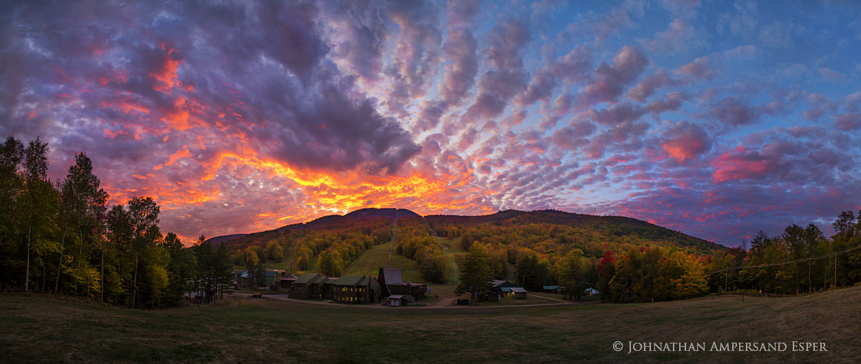 Gore Mt,Gore Mountain,Gore Mt ski area,base lodge,ski,fall,2017,sunset,panorama,Gore Mt base area,ski slopes,Adirondack Park,Adirondack, photo