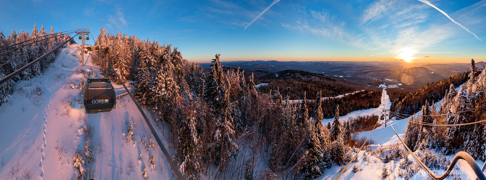 Gore Mountain,Gore Mt,Gore Mountain Ski Area,Northwoods Gondola,lift tower,winter,panorama,High Peaks,, photo