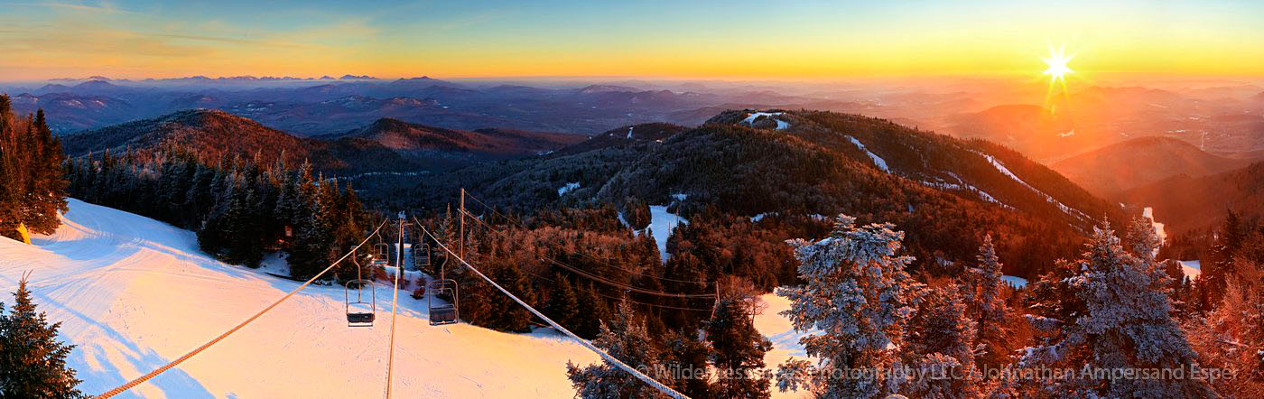 Gore Mountain,ski area,lift tower,chairlift,panorama,winter,sunrise,Gore Mt,Gore Mt ski area,High Peaks,Adirondack,mount, photo