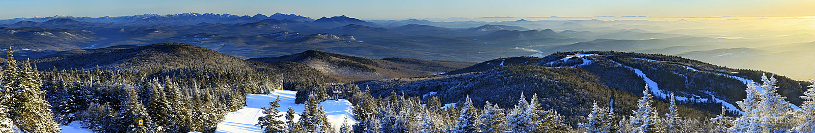 Gore Mountain,Gore Mt,ski area,ski trails,Cloud Trail,High Peaks,Adirondack Mountains,telephoto,winter,sunrise,treetop, photo