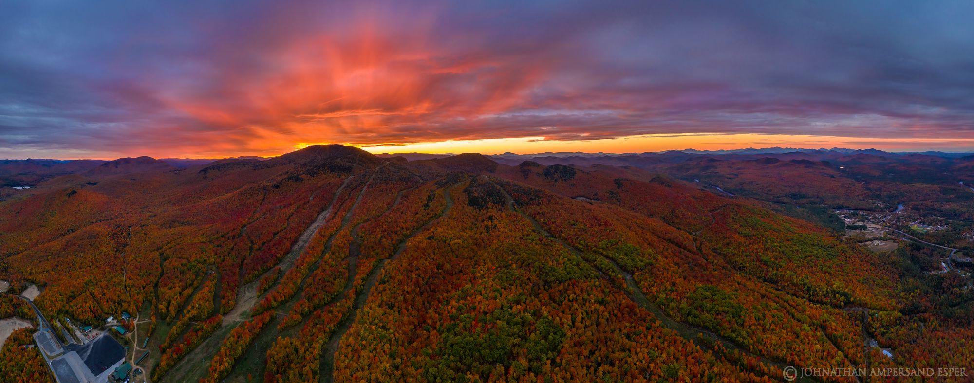 Gore Mt,Gore Mountain Ski Area,Gore Mt ski area,Gore Mountain,trails,ski trails,Harvestfest,2019,drone,panorama,sunset,fall,sunrays...