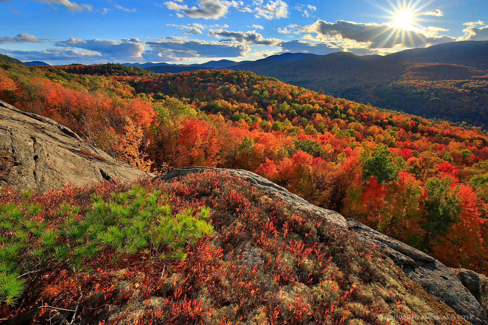 Peaceful Valley,Peaceful Valley Cliffs,Gore Mt,Gore Mountain,autumn,backlit,foliage,red,Adirondack Mountains, photo