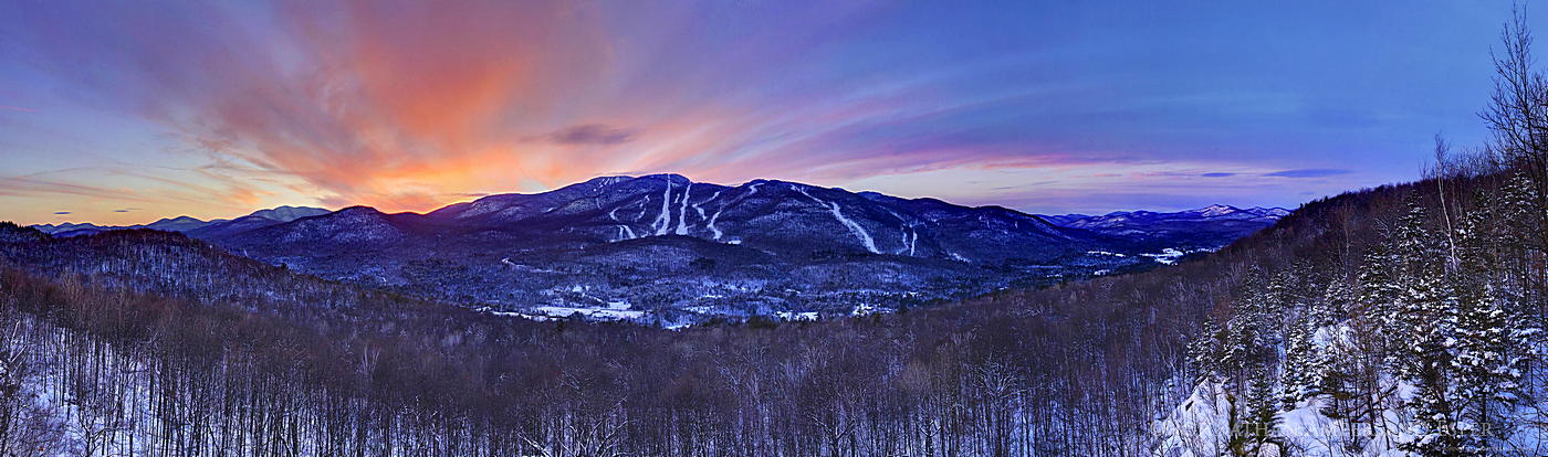 Gore Mountain,Gore Mountain ski area,Gore Mt ski area,Gore Mt, across valley,North Creek,sunset,Gore Mt sunset,winter,sk, photo