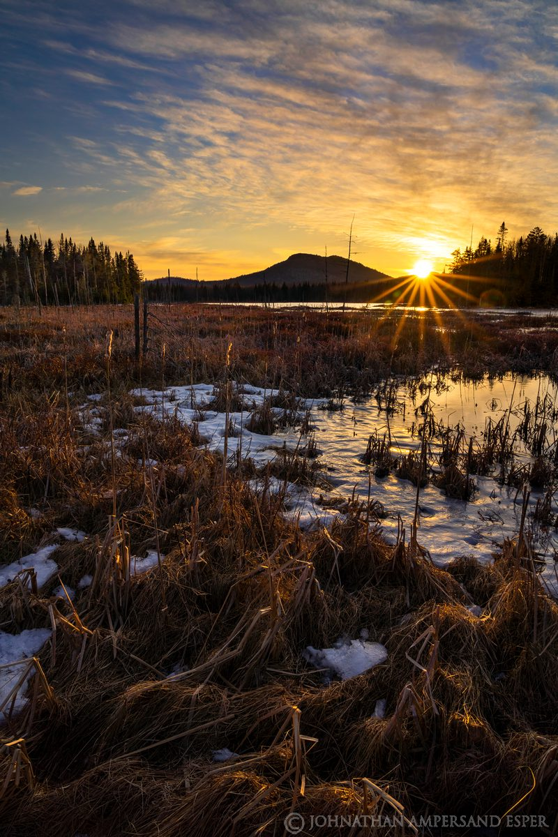 Gourdshell Ponds,Gourdshell Pond,Deer River Flow,March,2020,late winter,winter,ice,frozen,frozen bog,bog,sillouette,sunset,northern...