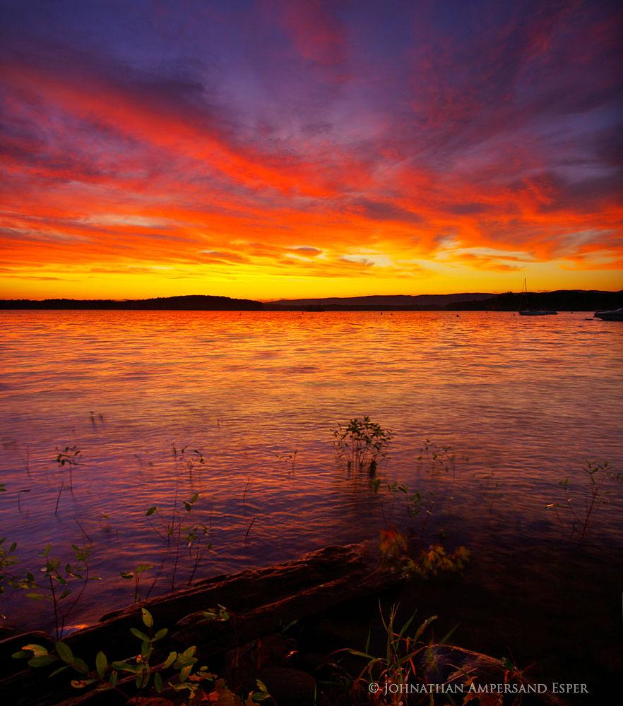 Great Sacandaga Lake southern region near Broadalbin summer sunset