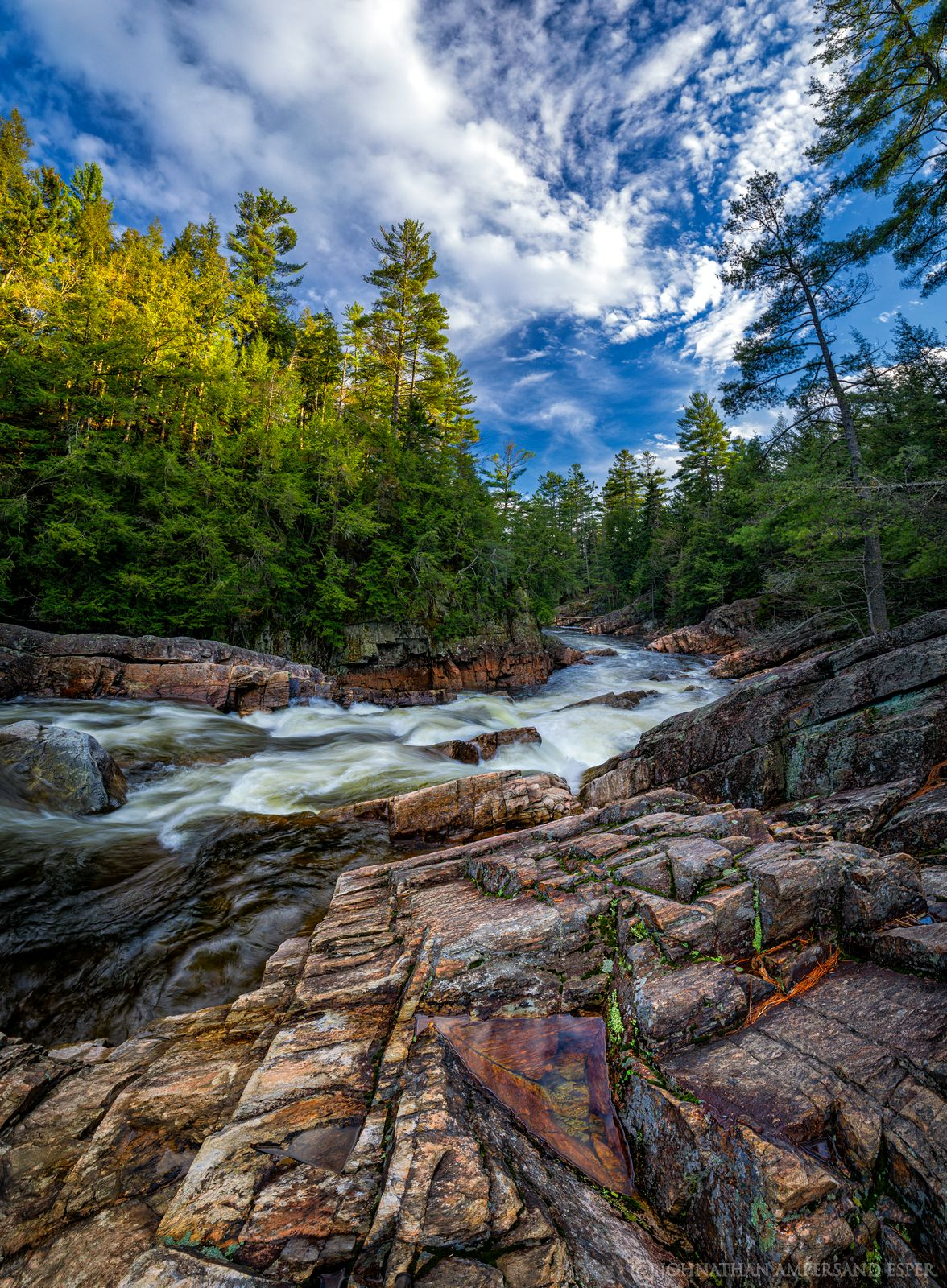 Griffin Falls,Griffin Gorge,East Branch Sacandaga River,Sacandaga River,vertical panorama,spring,2019, photo