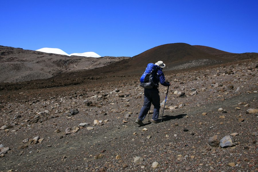 hiking, Mauna Kea, Hawaii, blue, sky, volcanic, landscape, high,, photo