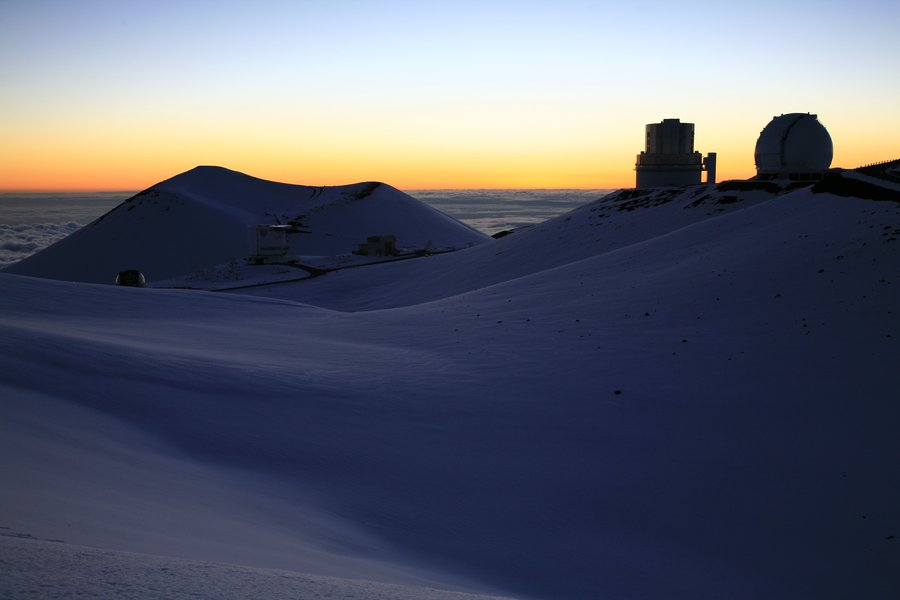 sunset, highpoint, hawaii, above, clouds, telescope, observatories, Mauna Kea, photo
