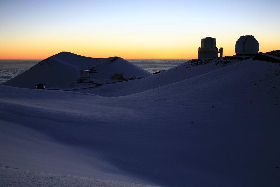 sunset, highpoint, hawaii, above, clouds, telescope, observatories, Mauna Kea, photo