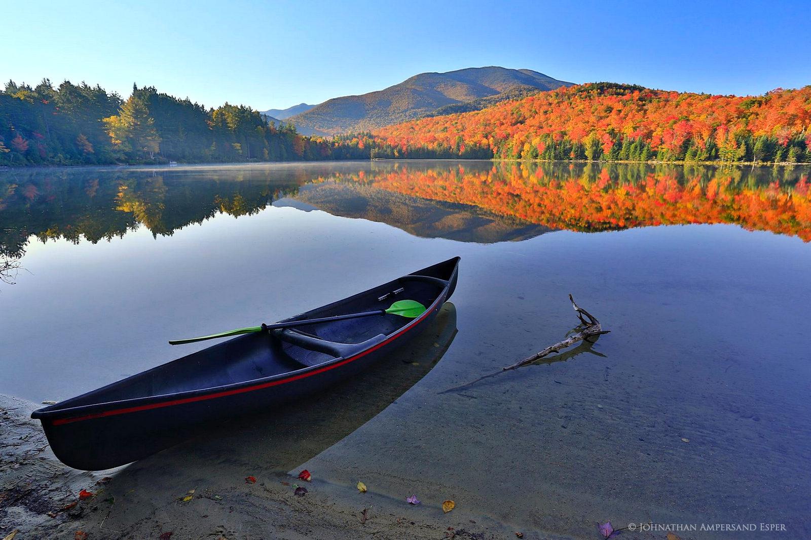 Heart Lake,Hornbeck,canoe,shoreline,Hornbeck Blackjack canoe,Hornbeck canoe,Heart Lake canoe,reflection,autumn,Algonquin,High...