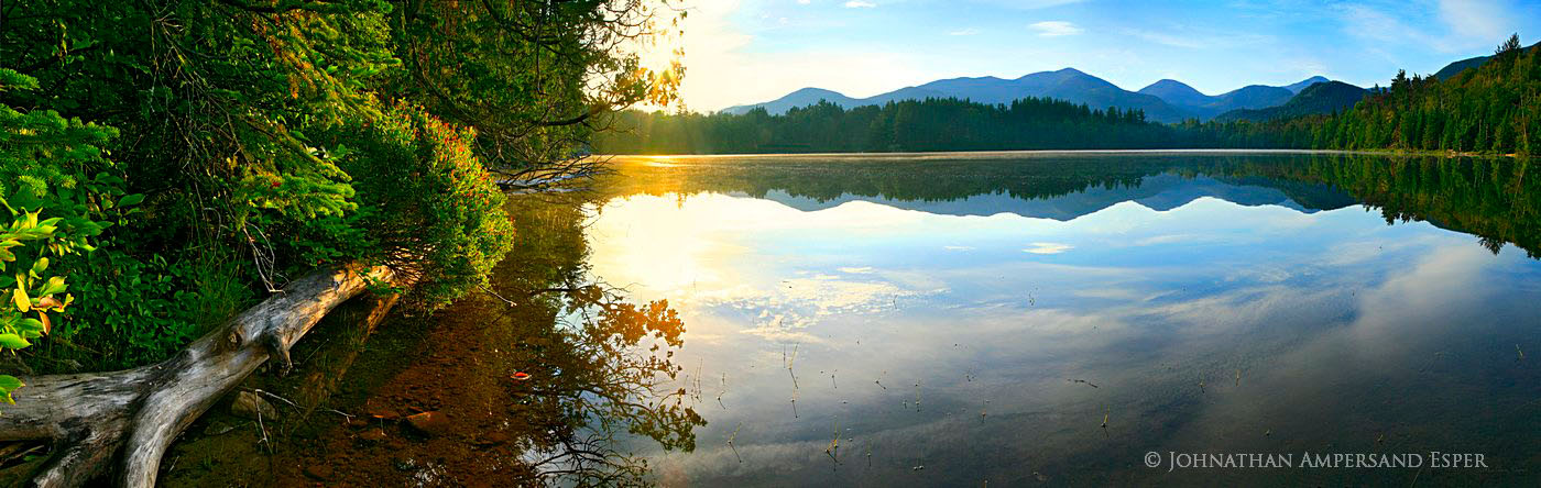 Heart Lake,shoreline,shore,log,sunrise,reflection,High Peaks,summer,, photo