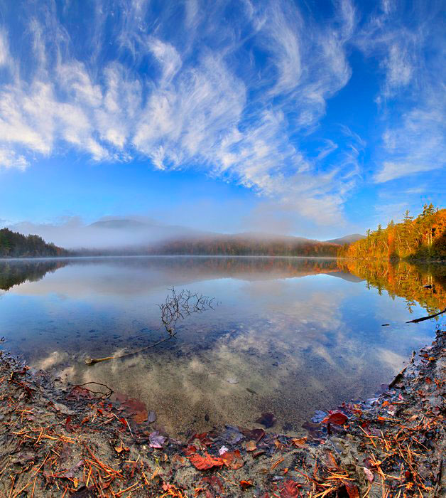 Heart Lake,beaver,branch,shoreline,fall,2011,sky,clouds,reflection,panorama,High Peaks,chewed,stick, photo