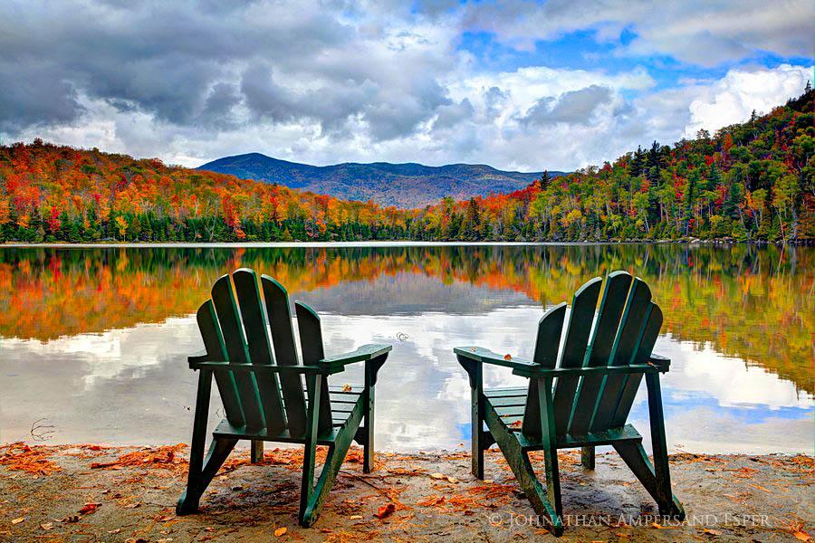 Heart Lake,two,Adirondack Chairs,shore,fall,2011,, photo