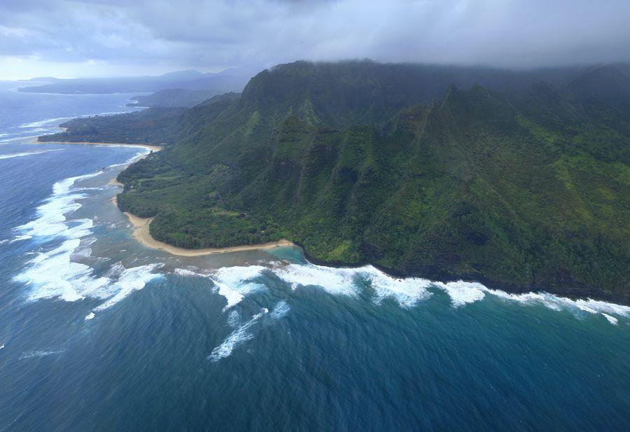 aerial, view, Na Pali, coast, coastline, Ke'e Beach, Kee Beach, cliffs, photo