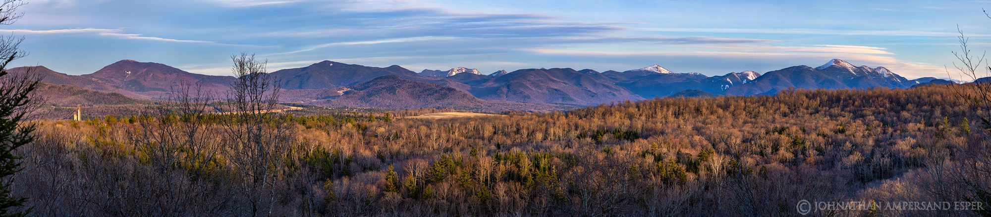 Henry's Woods trails viewpoint, Lake Placid village. 42377 x 9300 pixel = 394 megapixel equivalent panorama, of the High Peaks...