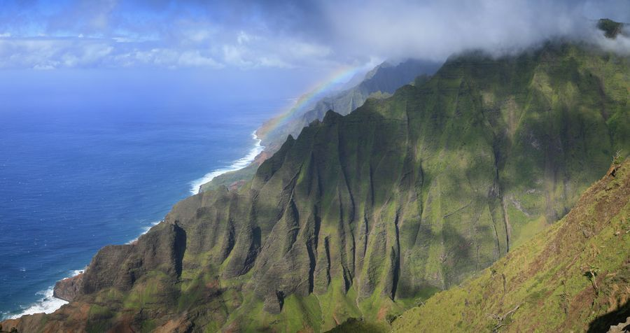 Honopu Ridge, view, Na Pali, coastline, coast, cliffs, fluted, grand, rainbow, vista, overlook, photo
