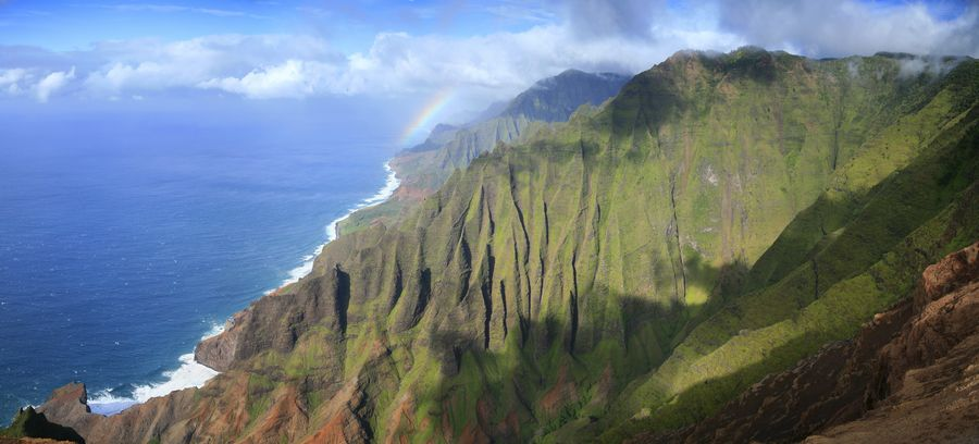 Honopu Ridge, view, Na Pali, coastline, coast, cliffs, fluted, grand, photo
